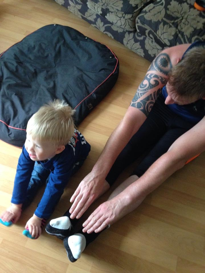 Dad & son stretching