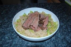 Slim rice noodles meal
