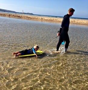 Ben and Logan surf practise