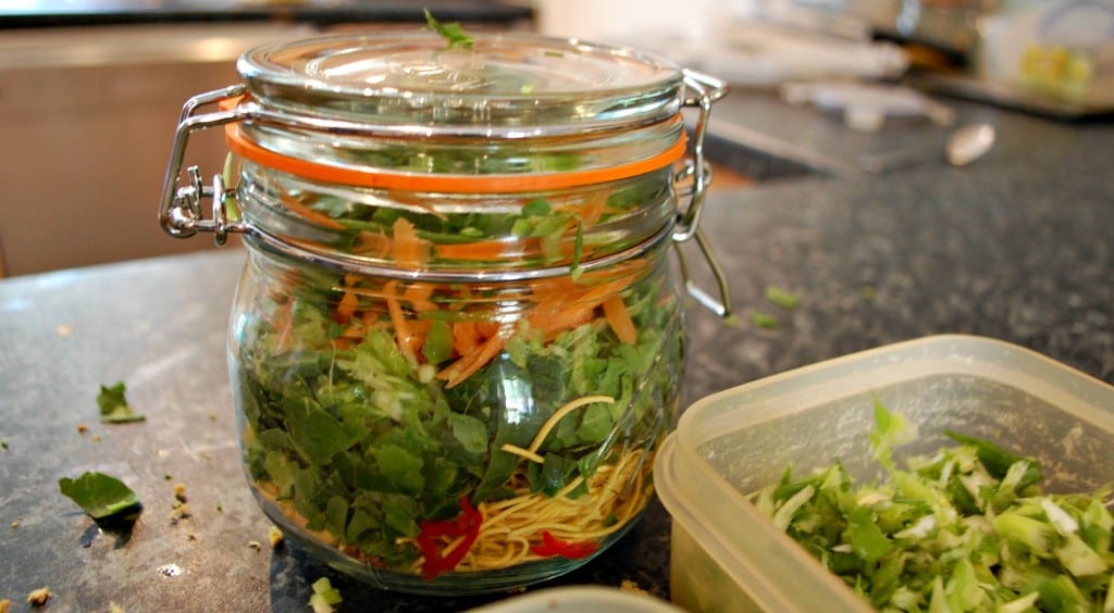 pots packed down with fresh vegetables