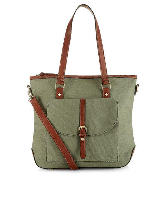 khaki canvas bag