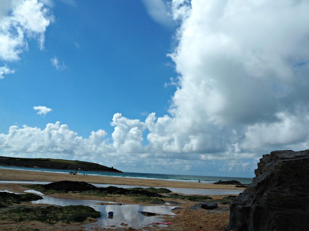 Harlyn beach and clouds