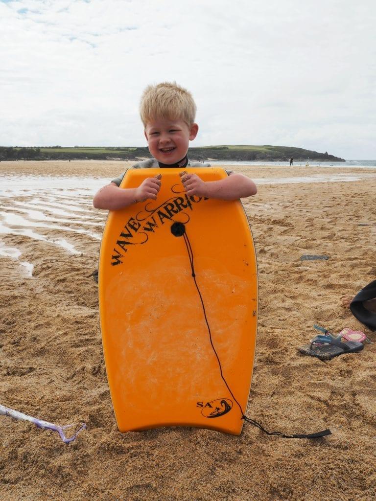 Logan's first surfboard