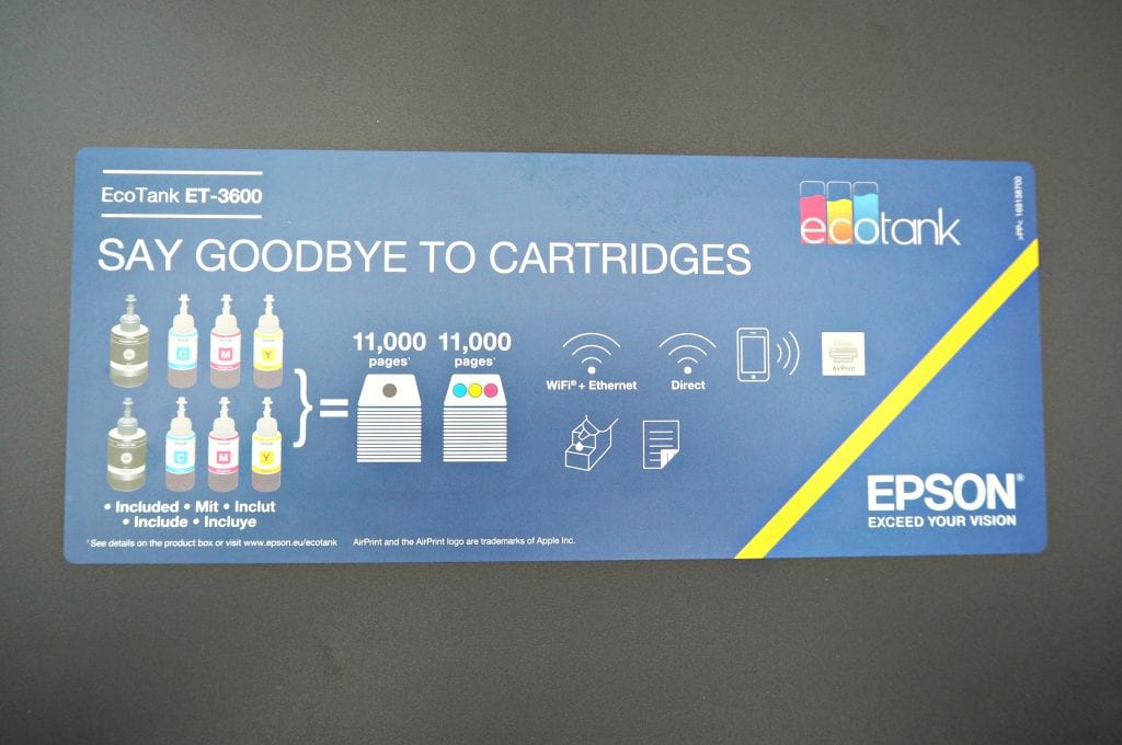 Epson EcoTank Review ET3600 goodbye to Cartridges
