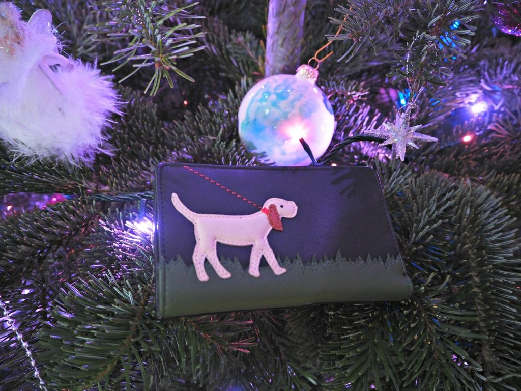 Yoshi dog walk purse on the Christmas tree