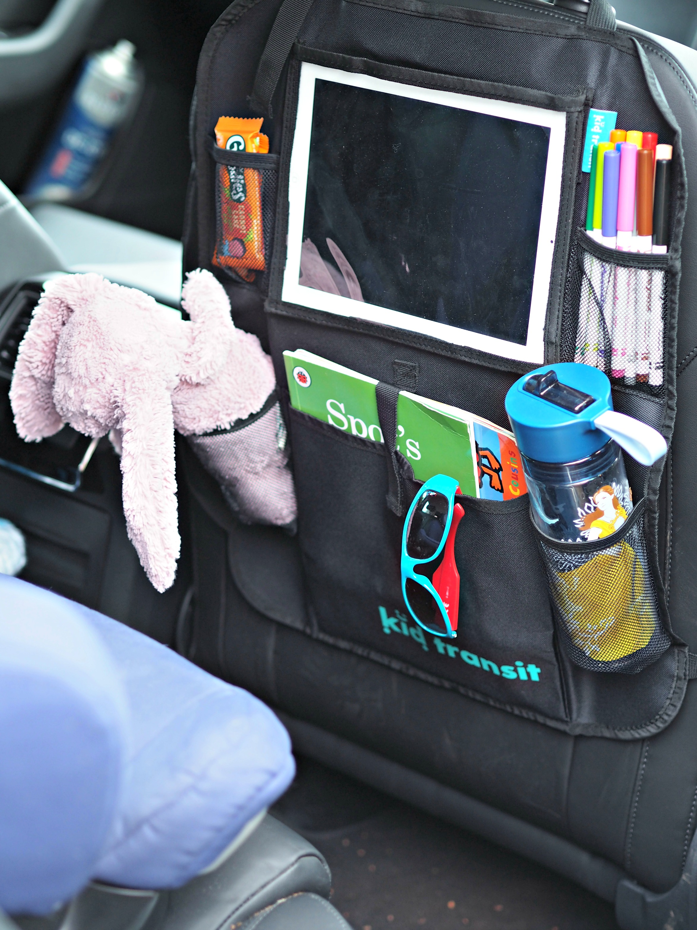 Kid Transit Car Organiser with iPad Holder - with items in