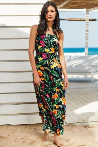Next Black Floral Maxi Dress