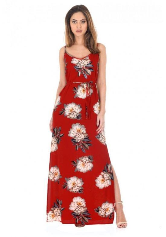 AX Paris Red -Floral-Printed-Split-Maxi-Dress