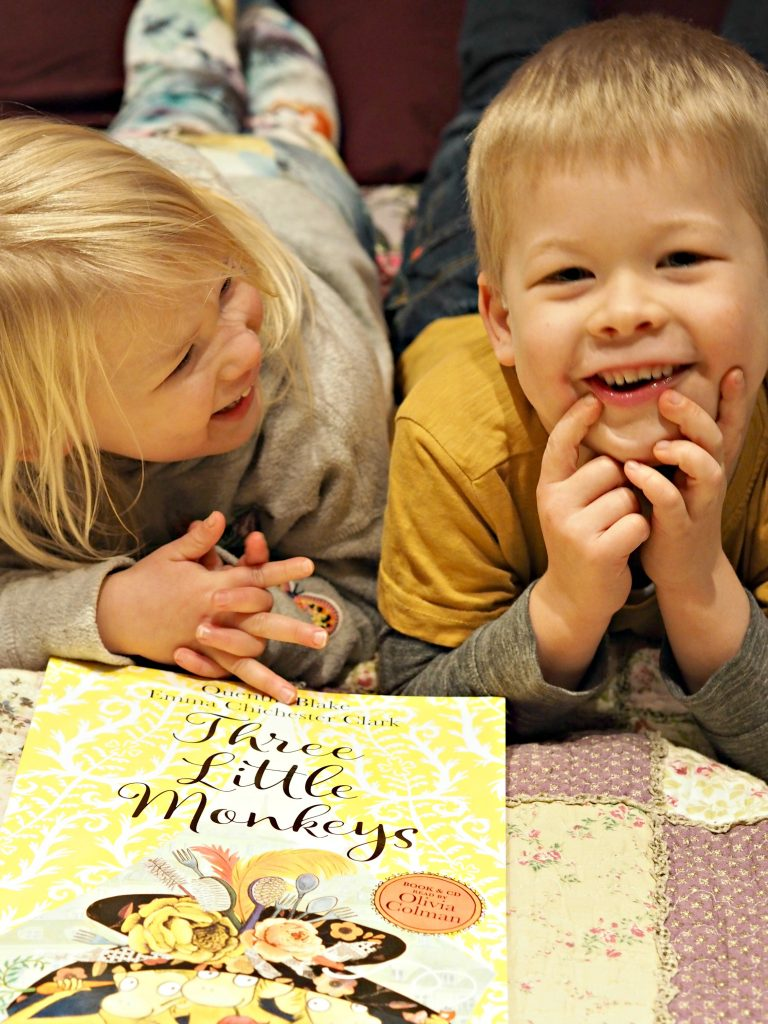 Three Little Monkeys by Quentin Blake & Emma Chichester Clark - laughing together.