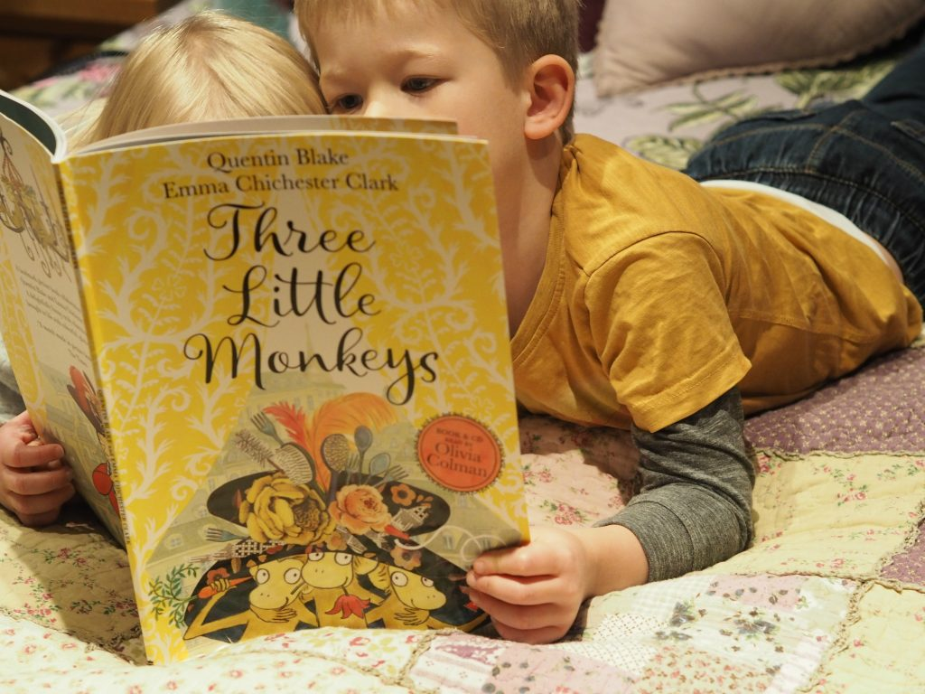 Three Little Monkeys by Quentin Blake & Emma Chichester Clark - reading on the bed