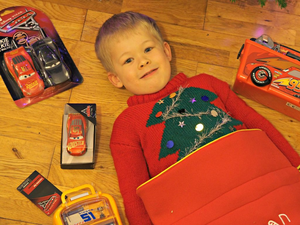Personalised Stockings with the Disney Store - Logan with Cars stocking filler Logan will all his present