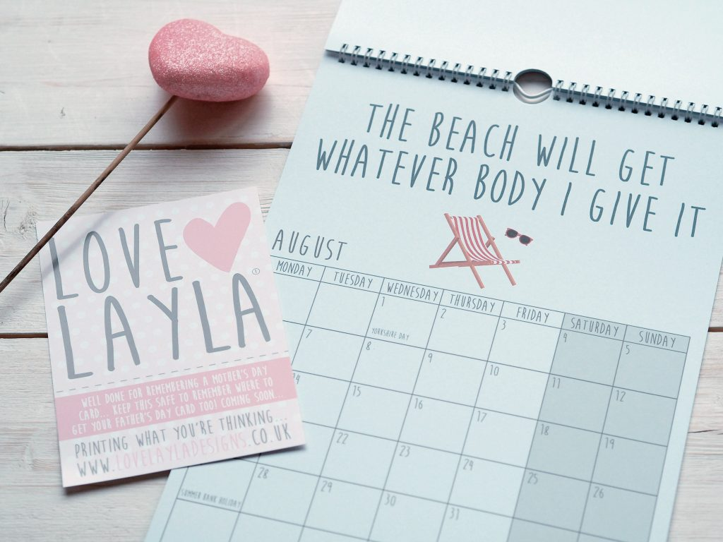 Raising a Smile on Mother's Day with Love Layla - calendar beach