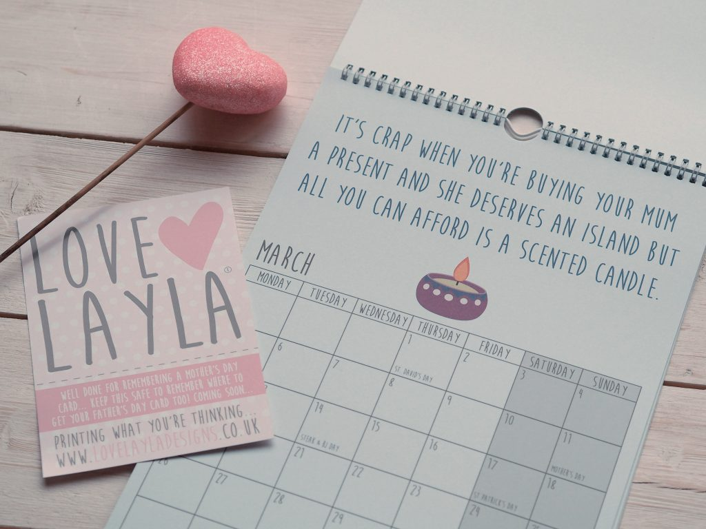 Raising a Smile on Mother's Day with Love Layla - calendar mother's day