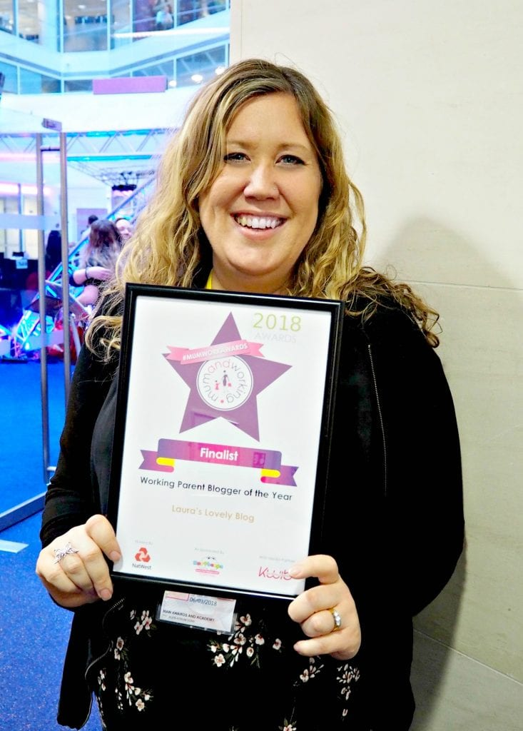 Attending the Mum and Working Awards - Me with Finalist Certificate