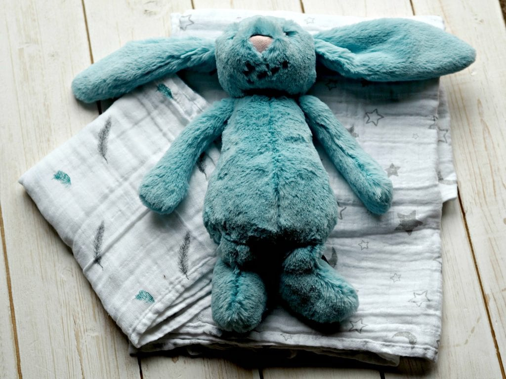 What's in My Hospital Bag for an Elective C-Section - muslin, swaddle and bunny