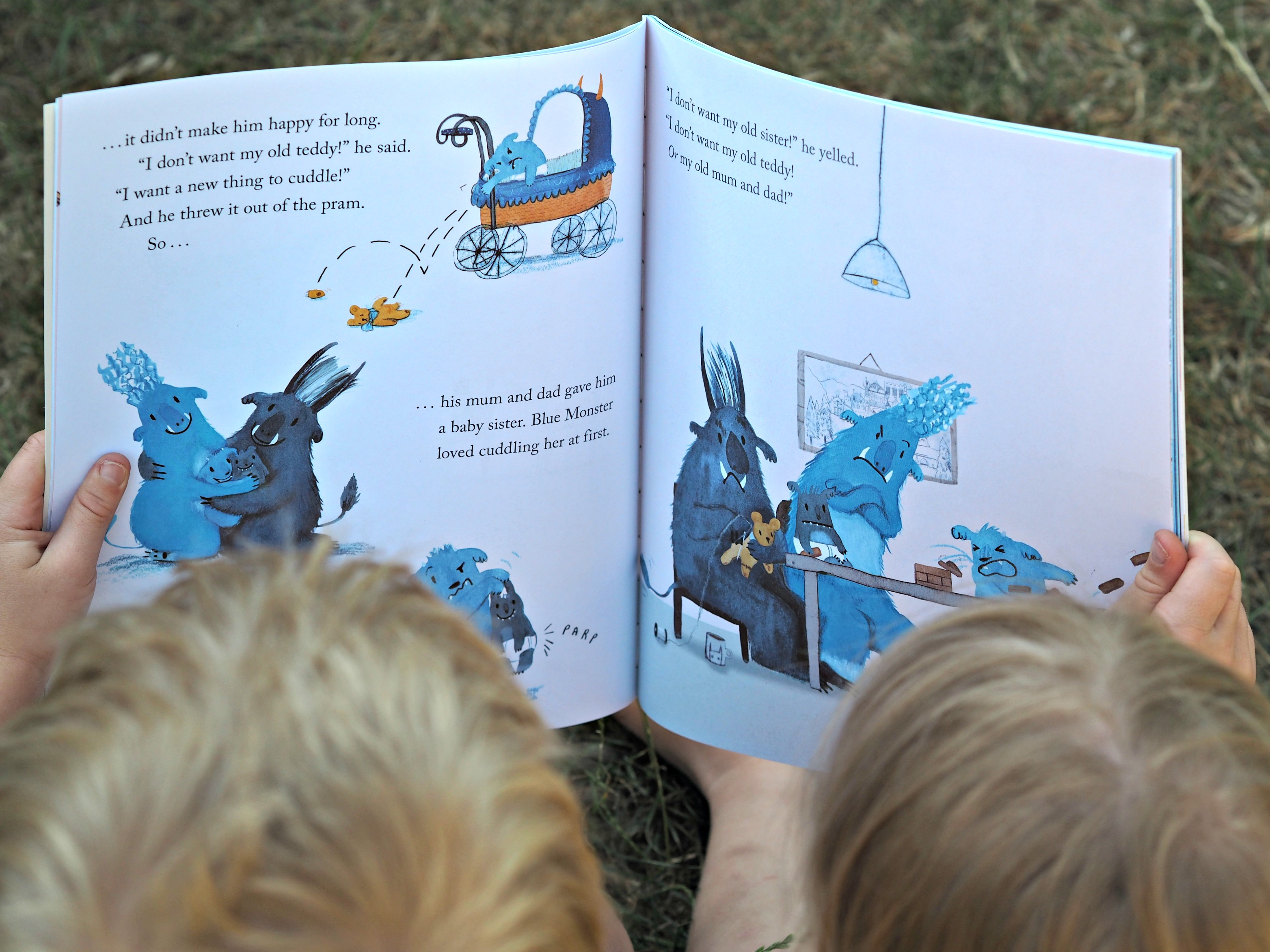CHILDREN'S BOOK REVIEW Blue Monster Wants It All - inside the book