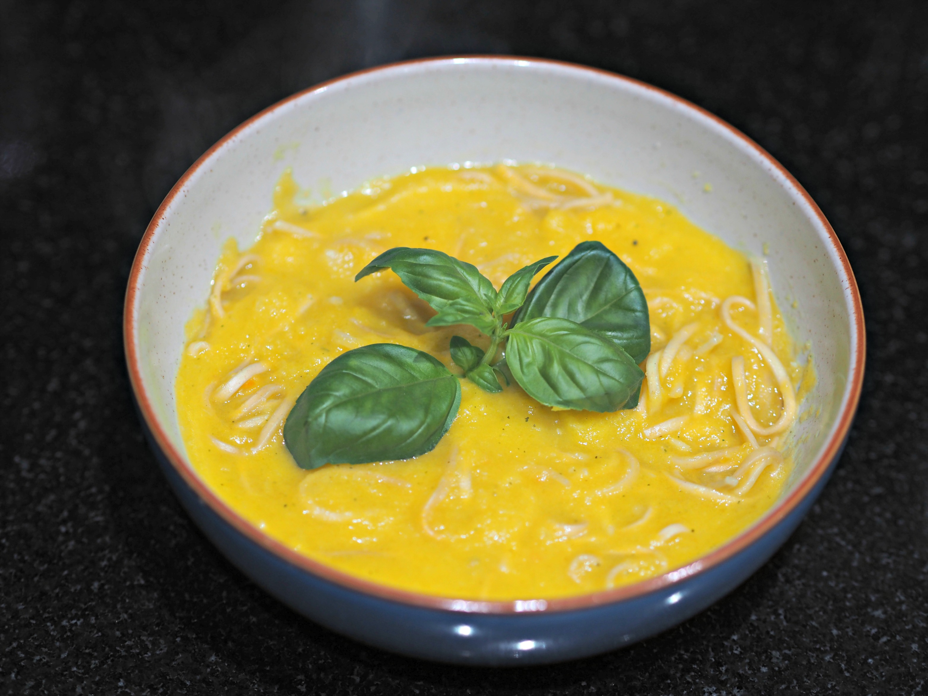 Healthy Halloween Making Pumpkin Coconut Soup with Aldi - the soup