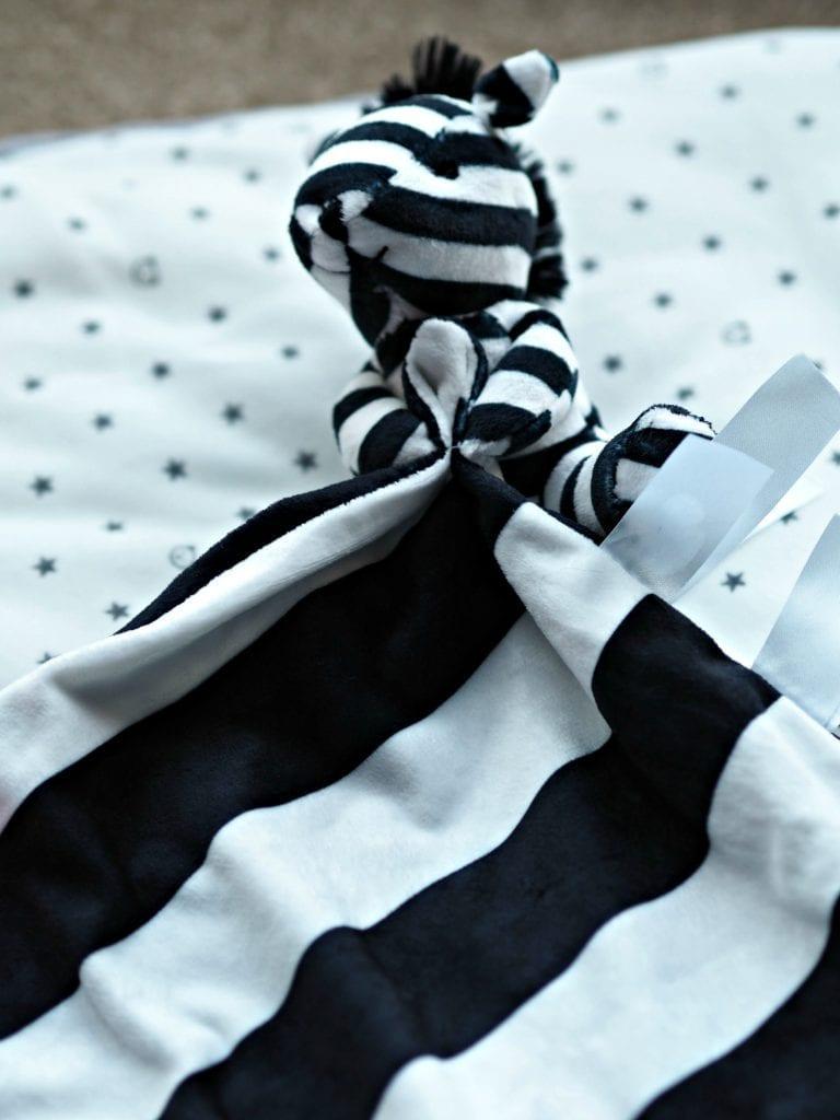 Ticklatots Tactile Soft Toys Review - zebra close up