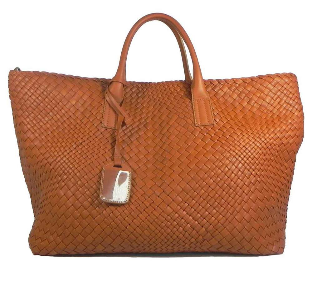 Italian Leather Woven Weekened Bag in Tan