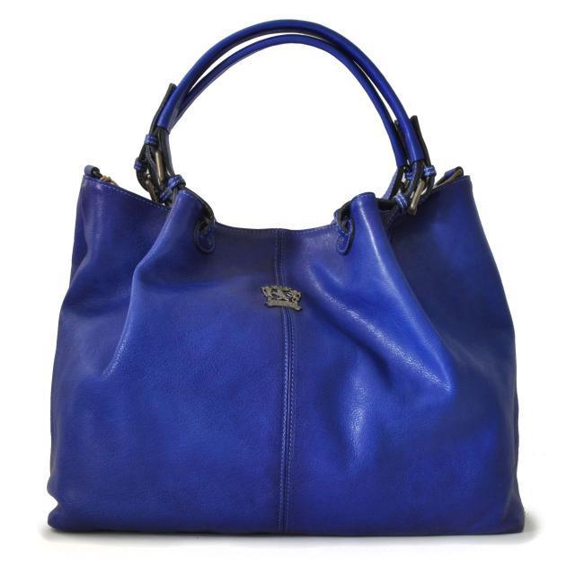 Italian leather age bucket hobo bag blue