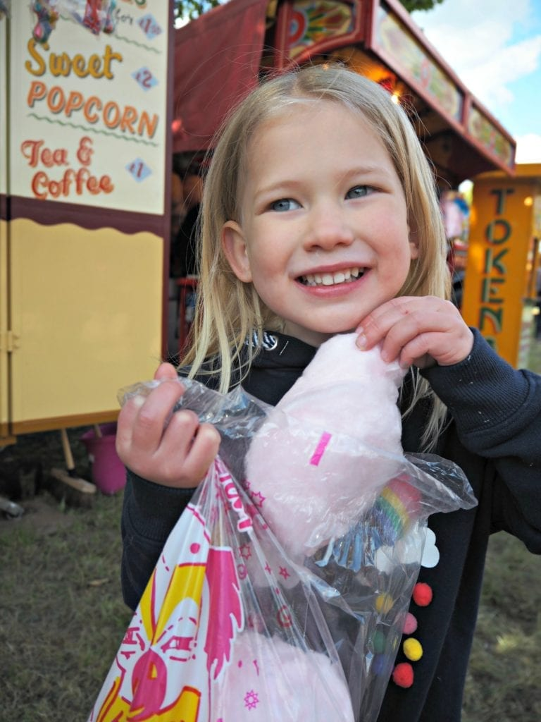 Aria with candy floss at Carter's Fair