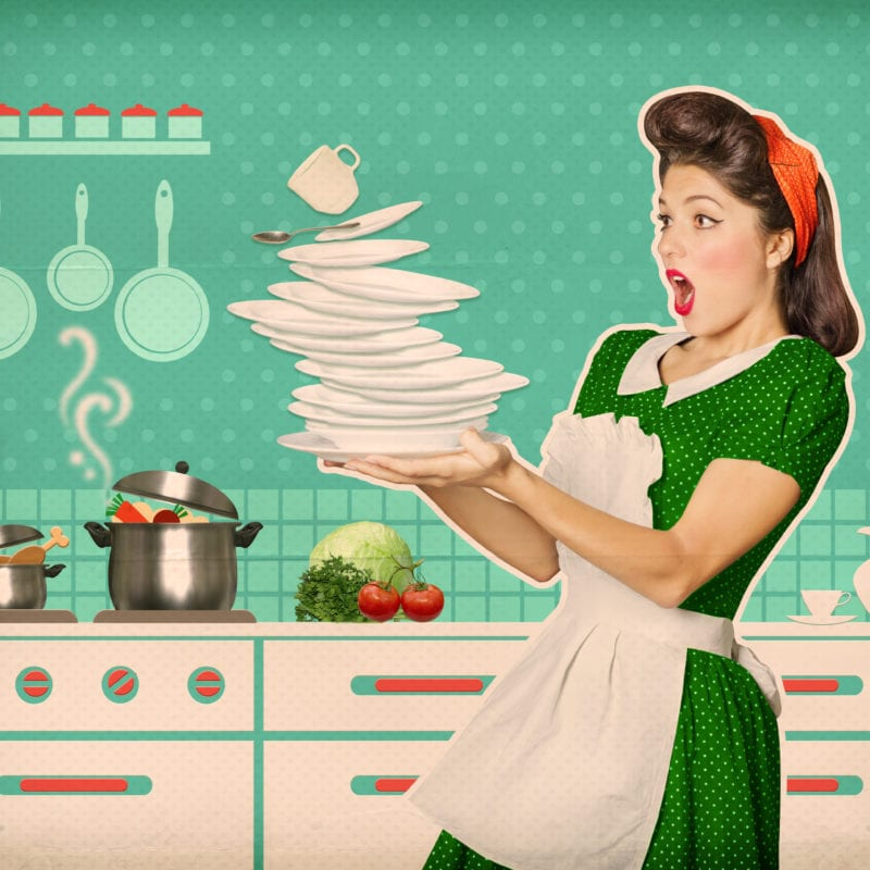 Gender Stereotypes and the Banning of Adverts - woman falling plates and dishes