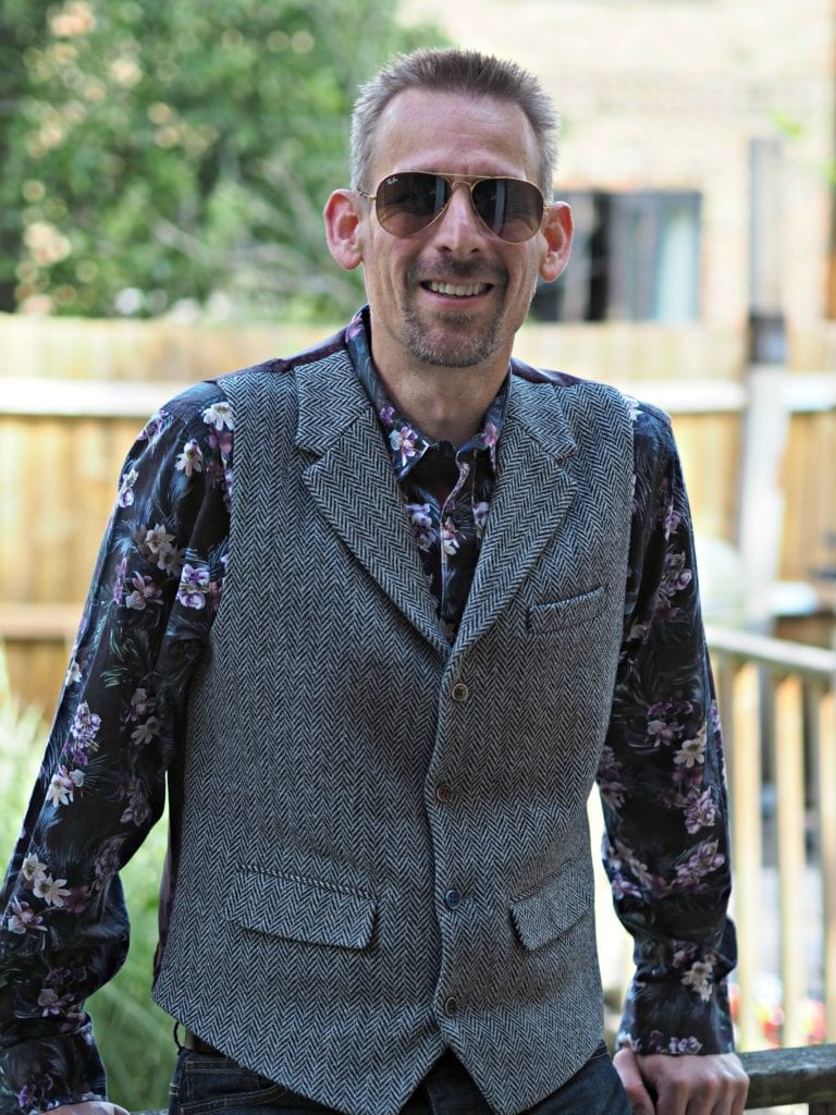 My summer style 2019 - Ben in waistcoat and bold shirt wearing aviator Ray-bans