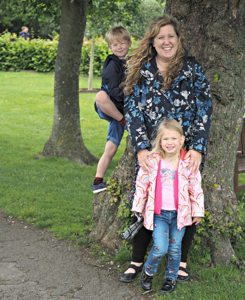 The children and I by a tree at Marwell Zoo
