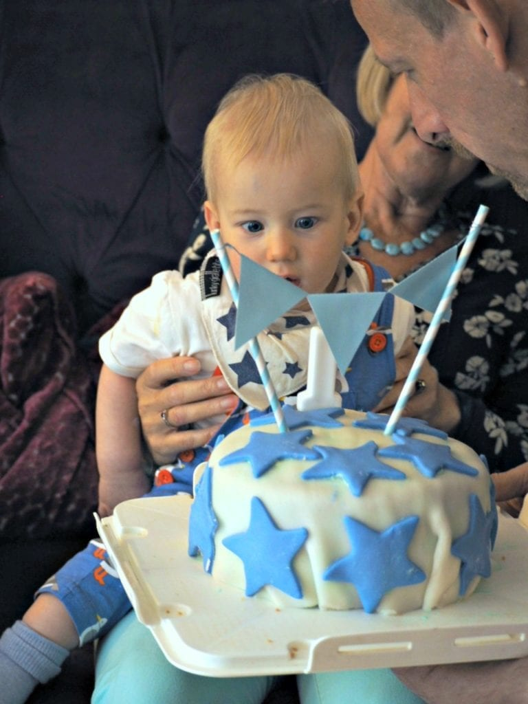 Bo with his birthday cake on 1st birthday