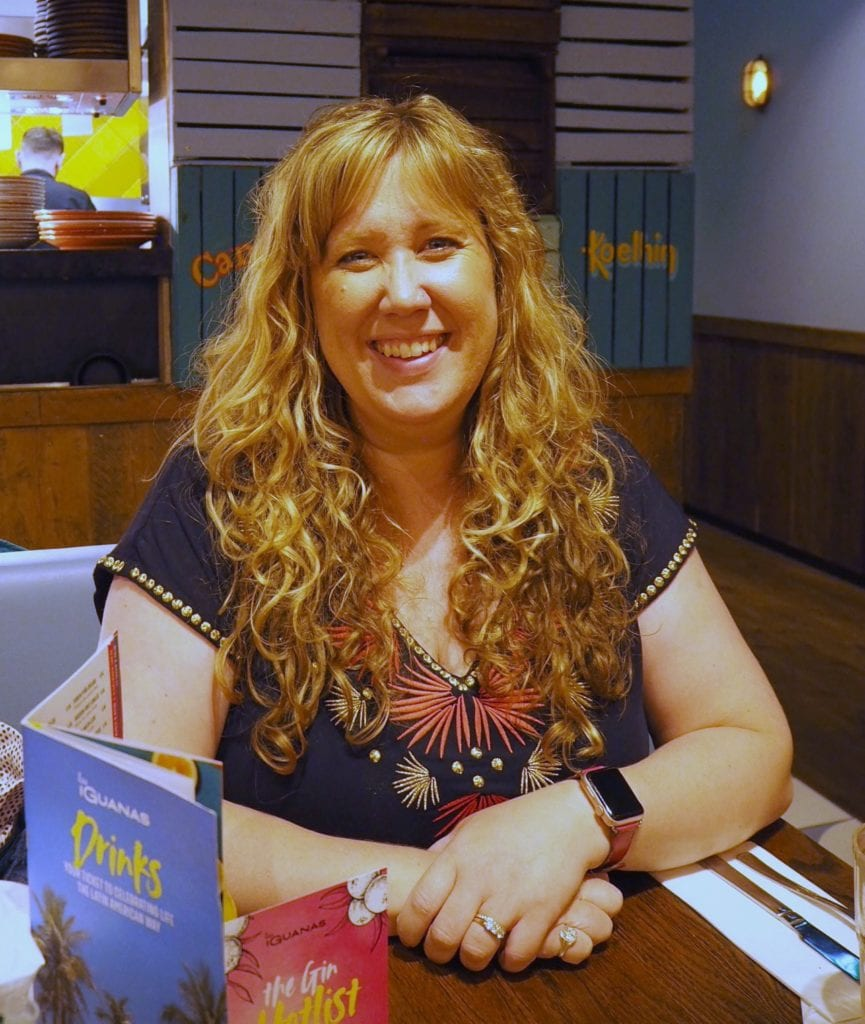 Lovely Things June 2019 - me sitting in Las Iguanas restaurant