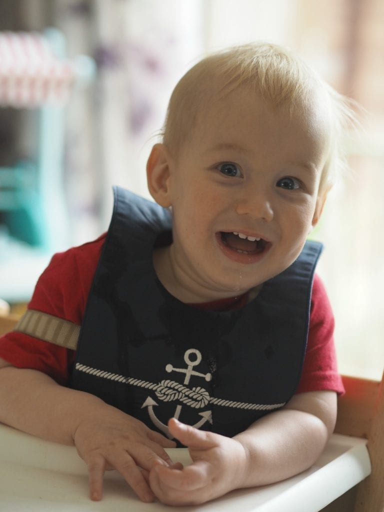 REVIEW: Poppie and George Vintage Pram Bib Gift Set - Bo wearing navy dribble bib with anchor on it