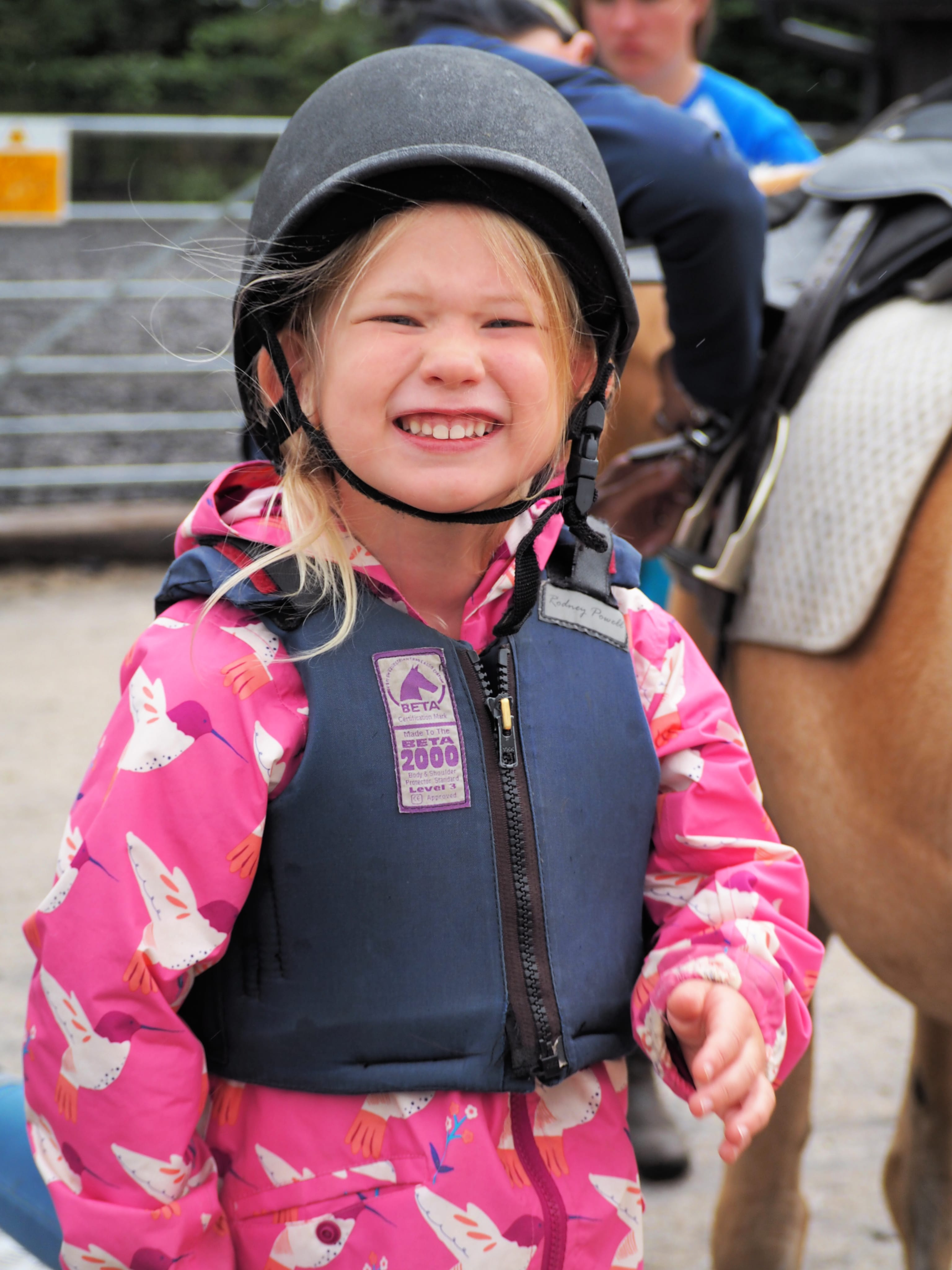 Aria very excited about her riding lesson
