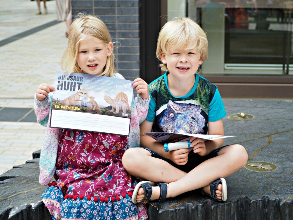 Children with their dino hunt sheets
