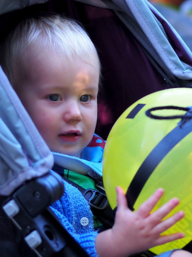 Bodhi with a Bumble Bee Balloon