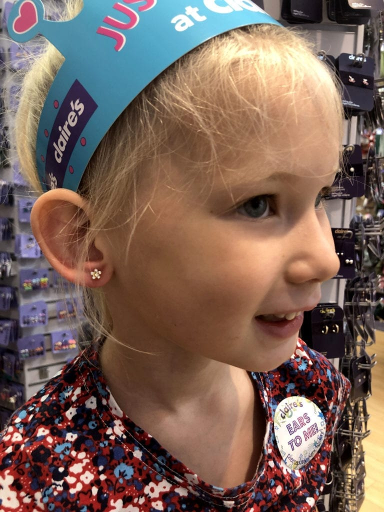 Aria after having her ears pierced