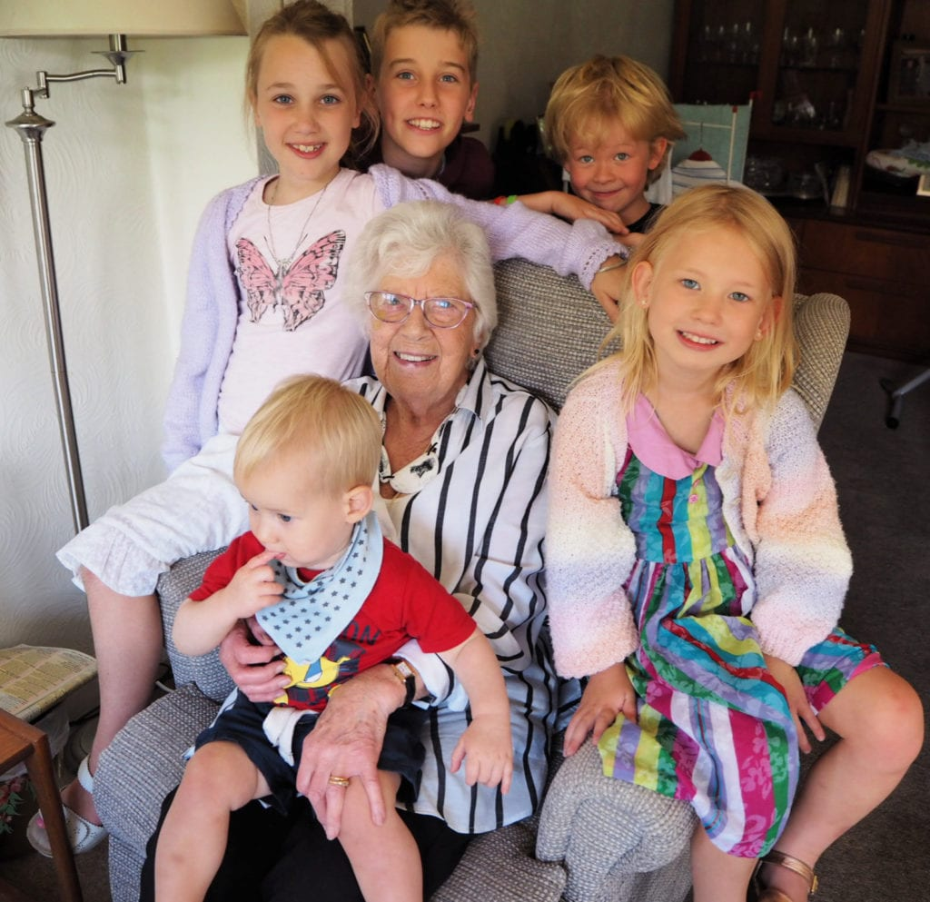The children with their cousins and great grandma