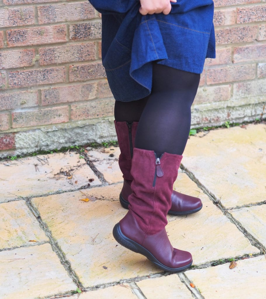 Close up of Hotter Matilda boots, showing outside zip on boots