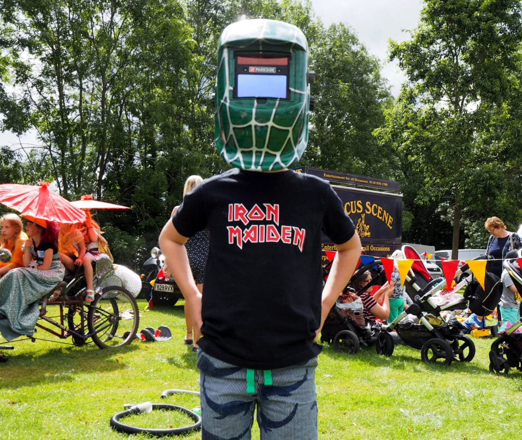 Logan in a fun mask at the Bracknell fun day