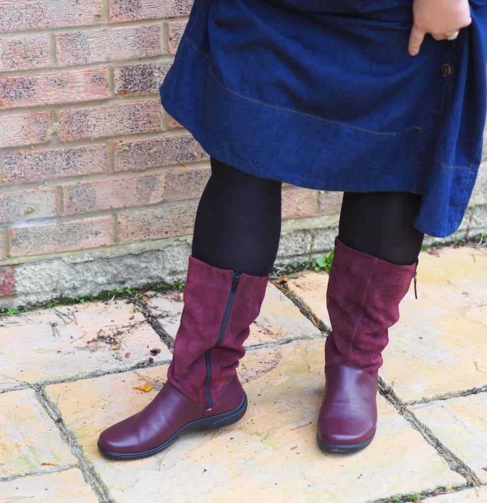 Close up of Hotter Matilda boots, showing in seam zip in boots