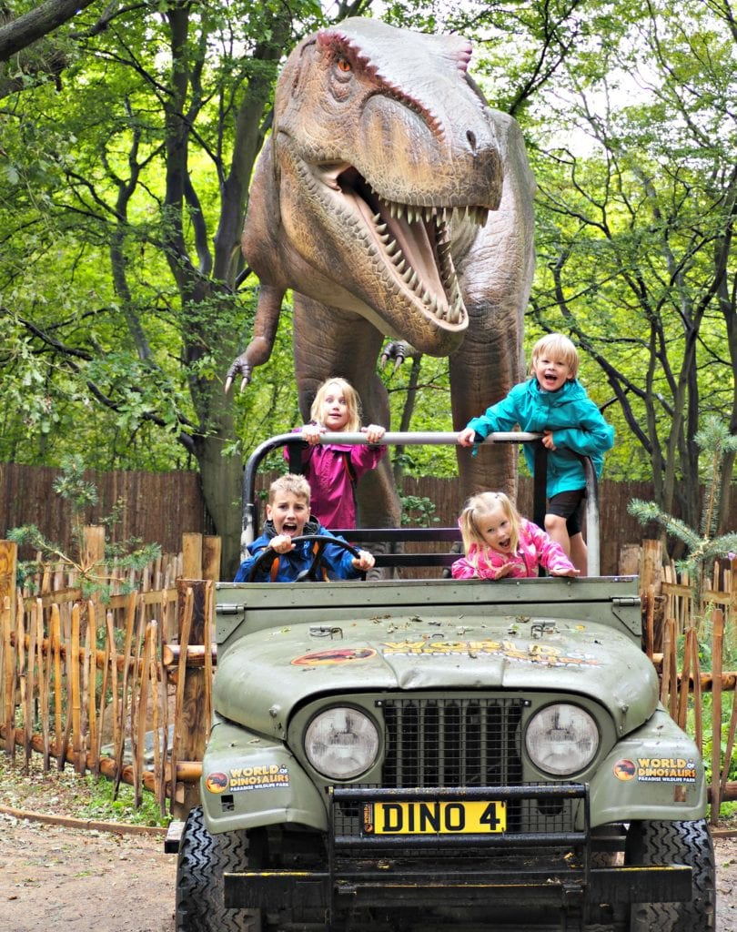 The children at the dinosaur exhibit at Paradise Wildlife Park