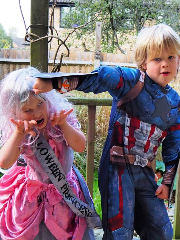 Halloween 2019 - Logan dressed as Captain America and Aria as a zombie bride