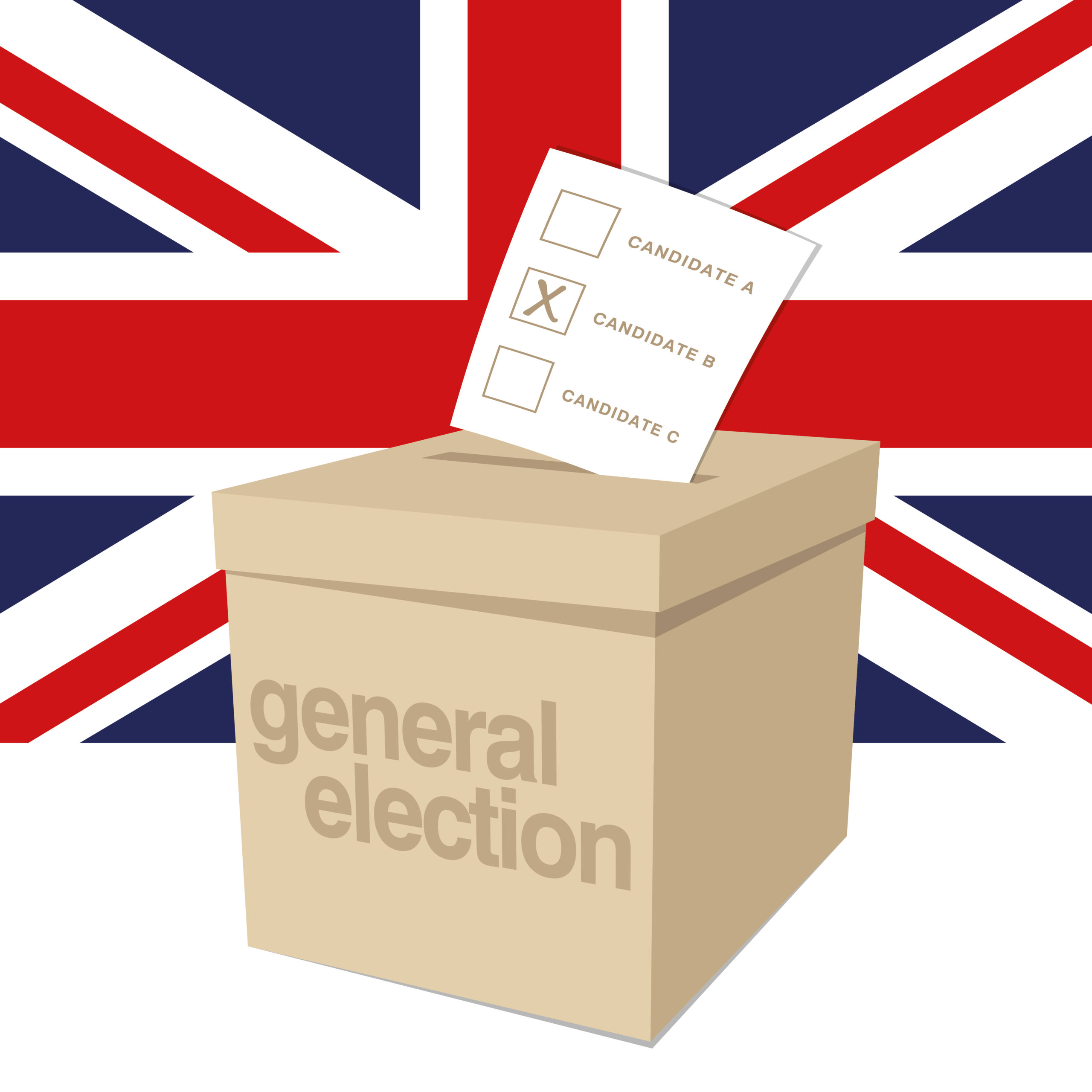 Picture of ballot box in front of a union jack