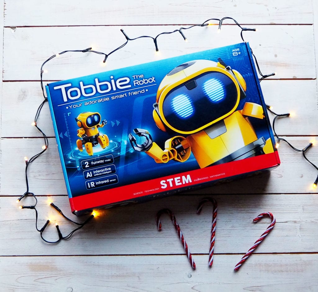 Tobbie Robot box with Christmas lights and candy canes
