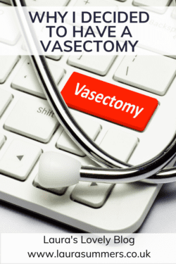 Why I decided to have a vasectomy. Image with key board with red key saying Vasectomy and stethoscope over the keyboard