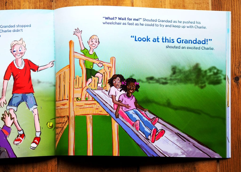 Illustrations in Grandad Wheels on children playing on a slide
