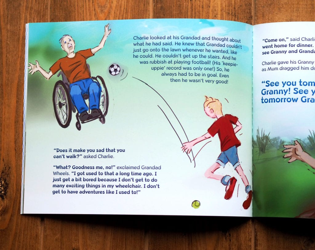 Inside pictures of Grandad wheels of Grandad in a wheelchair and a little boy playing football