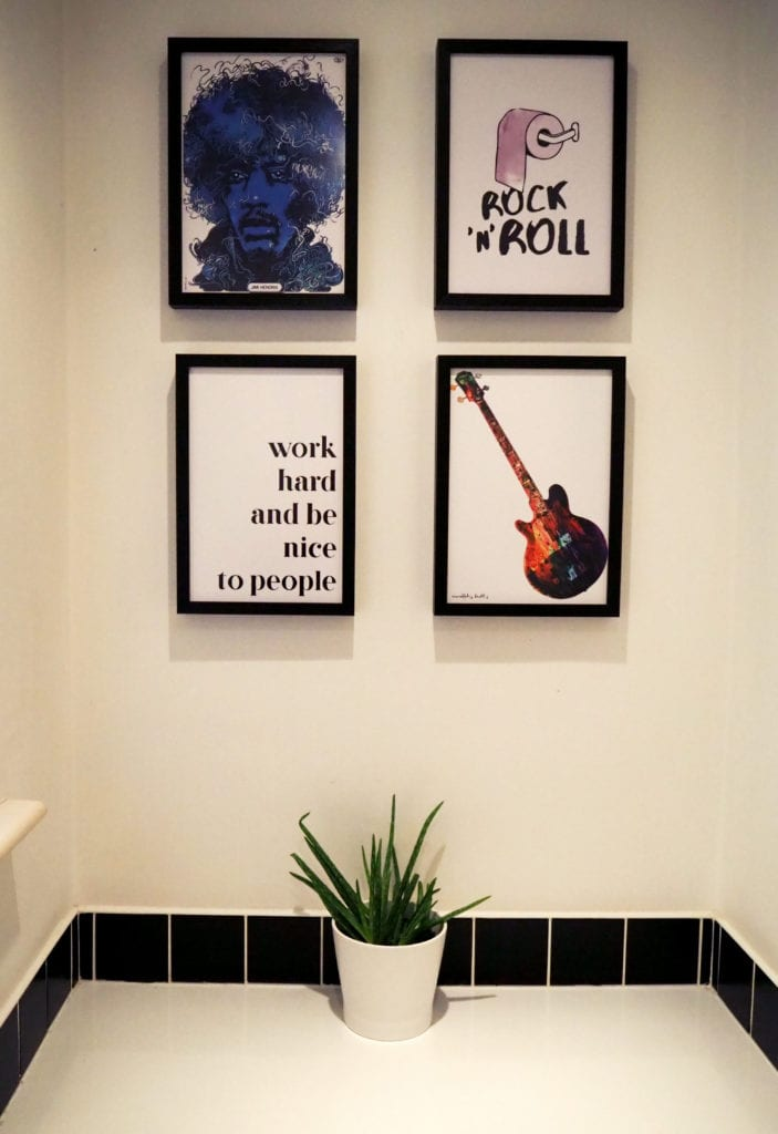 Rock and roll cloakroom feature wall