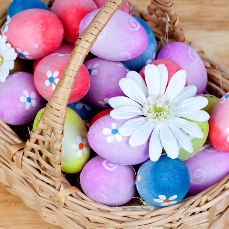 Alternative Gifts for Children for Easter that are Not Chocolate - Easter eggs decorated with daisies tucked in a basket