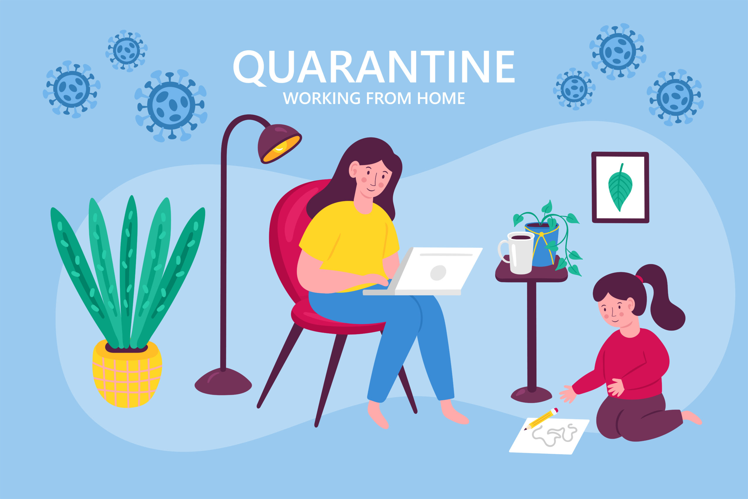 The Coronavirus Diaries - 28th April 2020. Coronavirus quarantine concept. Working from home. Woman with child sitting on chair and working on laptop. Flat cartoon vector illustration