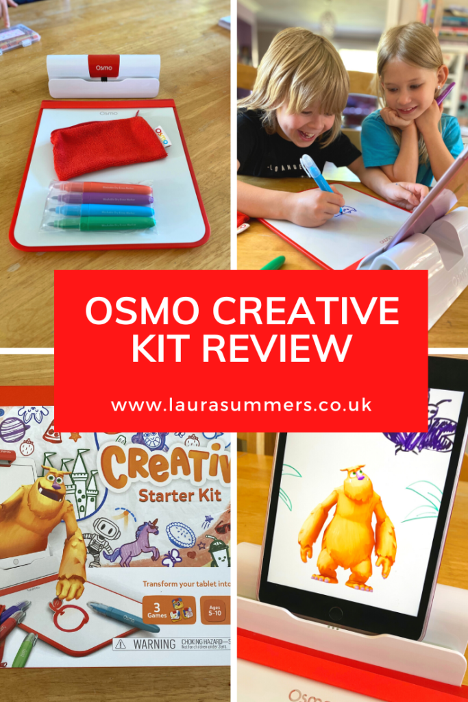 Osmo Creative Kit And Monster Review. Osmo in its simplest form is a drawing pad, a reflective device to go on the top of your iPad and a collection of apps. You can buy different add ons to go with it- blocks, games, dice puzzles and so many clever things that interact with your tablet. A device that enables your tablet to teach you to draw, and drawings that teach you some of the principles of physics. How marvellous is that?
